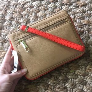 Talbots buttery soft leather wristlet clutch